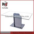 vidrio templado blanco base de madera mesa de comedor