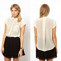 caliente venta de la mujer primavera verano manga corta estilo europeo camisas, cuello de peter pan blusas de gasa 6826