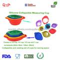 grado alimenticio flexibles taza de medir de silicona plegable