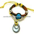 stainess teadrop de acero de joyería hecha a mano de piedra turquesa pulsera de cuero