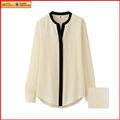 cuello mao mujeres más la camiseta blusa blanca de manga larga