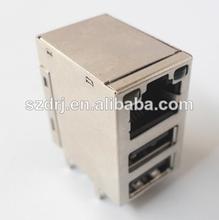 Con conector de un solo rj45& doble conector usb