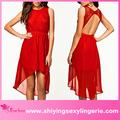 venta caliente rojo de encaje vestido de noche largo