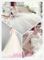 vestido de baile com decote largo da renda ombro coberto de 2014, com mangas três quartos vestido de noiva