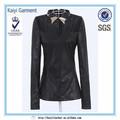 desgaste de moda al por mayor de cuero artificial elegante blusa de diseño