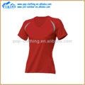 Llanura de color rojo secado rápido v- cuello banda más el tamaño de las mujeres s t shirts