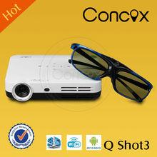 q concox shot3 para la venta con usb hdmi vga salida de audio dvd televisión proyector de vídeo baratos