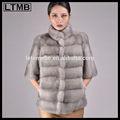 De diseño de europa gris damas de piel de visón abrigo/visón abrigo de piel señoras/media manga/la mitad de la manga