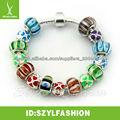 2013 fashion colorful glass bead silver bracelet for women