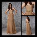 Venta al por mayor 2013 Diseño Sash amor atractivo con lentejuelas de oro Criss-cross gasa vestido de fiesta