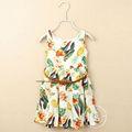 Varejo um pcs! Nova 2014 fs fanshoubaby miúdos vestuário flor impressão pássaro verão meninas vestido túnica com cinto 6505