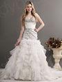 halter de lujo cáscara de piedra de la capilla de tren de organza vestido de novia