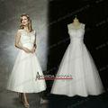 Completa beading de cristal pulseira de chá vestidos de noiva comprimento NS231