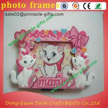 de dibujos animados de pvc gato marcos de fotos de color rosa con corazón patrón baby para los regalos de navidad
