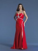 Spaghetti Strap V-cuello Dividir Front rojo gasa vestido de noche