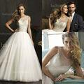 AB 9050 clásico vestido de bola del organza listones vestido de novia al por mayor