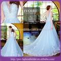 nova moda v pescoço frisado appliqued organza ruched aumentando a bola vestido de casamento vestido 2014