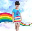verano 2014 nuevo diseño de ropa de niños de colores del arco iris de bebé de algodón niñas vestidos de ropa al por mayor