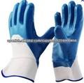 Guantes Puños de seguridad de nitrilo azul obrera industrial