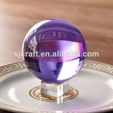 de color púrpura de bola de cristal con la base al por mayor bola de cristal pisapapeles para souvenirs de regalo