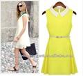 mangas de gasa de primavera y verano vestido de mujer de moda elegante color caramelo vestido casual baratos