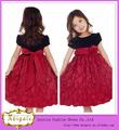 Novo design em preto e vermelho tafetá curto/mini um- linha de pescoço colher as crianças usam vestidos de festa para as meninas