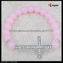 8 milímetro rosa vidrio pulsera rosario