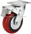 Rueda giratoria con freno de rueda, echadores del PVC