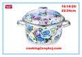 Ronda de hierro fundido del esmalte& plato cazuela con tapa- 22cm, tapa de cerámica flor azul ollas de cocina