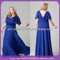 Sa-mi02 royal blue v- pescoço ruffle floral embellished mangas curtas plus tamanho chiffon mãe da noiva vestidos de renda