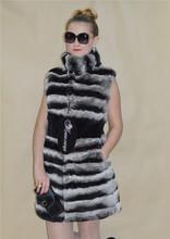 de alta moda chaqueta de las mujeres de zorro de invierno de piel de conejo abrigo de visón abrigo de piel de conejo capa