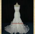 2013 Nueva blusa plisada con gradas de la falda del Organza vestido de sirena de la boda real con el cristal desmontable Cinturó