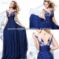 Zuhair Murad Azul marino Gasa vaina largos vestidos de noche sin espalda con escote floral escarpada del cordón TE 92130
