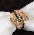 vintage indio verde esmeralda anillo barato al por mayor de oro plateado anillo de esmeralda para las mujeres