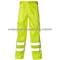 Algodão/poliéster amarelo bolsos cargo calças