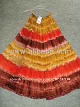 Para mujer& niñas faldas largas con estilo indio& empate tinte de color neftol cintura pulgadas faldas de las mujeres