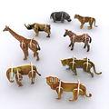 de los animales 3d tablero de juego para los niños