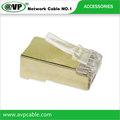 Cat6 8p8c cat6 rj45 plug, 5u chapado en oro
