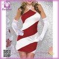2014 traje de la Navidad del nuevo diseño al por mayor de los vestidos rojos de la Navidad del bastón de caramelo FC046