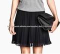 2015 el último diseño barato gasa plisada mini falda