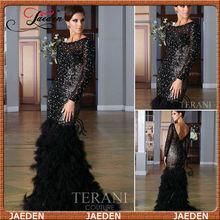 sirena 2013 nueva llegada zuhair murad cuentas de diseño indio negro pluma manga larga vestido de fiesta