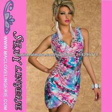 ML17864 Azul y rosa elástico sin mangas escote en V a granel al por mayor de flores vestido de la manera