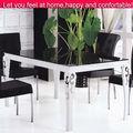 Madera mesa de comedor de vidrio con un diseño superior/tapa de cristal y base de madera mesa de comedor