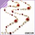 Collares largos con flores rojos de moda para mujeres bisuteria por mayor