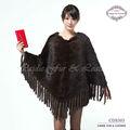 CDS303 véritable de vison tricoté l'Europe de vente chaude de grandes fourrure de vison tricoté poncho femmes avec le gland