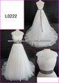 2014 guangzhou verdadera muestra de vestidos de tul A-line de boda / vestido de novia con chaqueta de encaje / bolero y la cinta