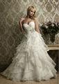 2014 Increíble Organza del vestido de bola del amor de los plisados moldeados volantes vestido de boda por encargo H040