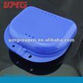 instrumento dental colorida caja de retención de plástico para dentaduras postizas caja dental
