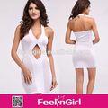 los últimos estilos de blanco elegante baratos vestidos de las señoras sin mangas de las mujeres