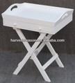 Bandeja de madera blanca con patas plegables, con dos cajones